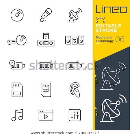 Emlék kártya vonal ikon háló mobil Stock fotó © RAStudio