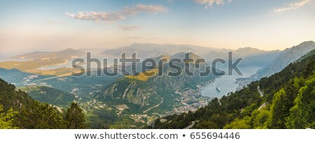 Aerial view on Boka Kotor bay from the Lovcen mountains Stock photo © Steffus