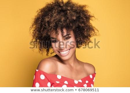 beleza · retrato · sorridente · africano · mulher · jovem · elegante - foto stock © deandrobot