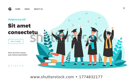 Fiatalok diplomás agglegény modern vektor vízszintes Stock fotó © vectorikart