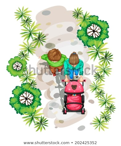 A topview of a family strolling at the park Stock photo © bluering