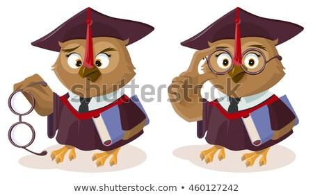 Owl teacher with book and poor eyesight Stock photo © orensila