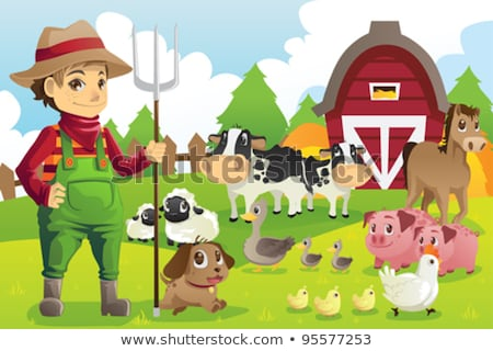 Farmer At His Farm With A Bunch Of Farm Animals Stockfoto © Artisticco