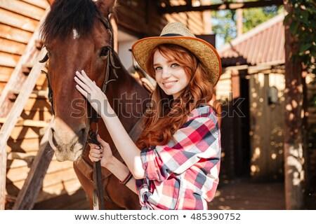 Mutlu genç kadın at köy gülen Stok fotoğraf © deandrobot