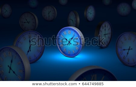 Space and time. Many blue circular clock. 3D illustration. stock photo © grechka333