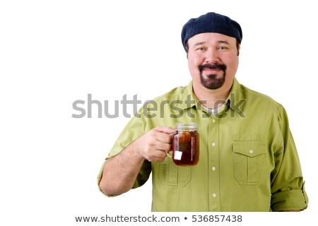 Szczęśliwy człowiek beret szkła kubek cytryny Zdjęcia stock © ozgur
