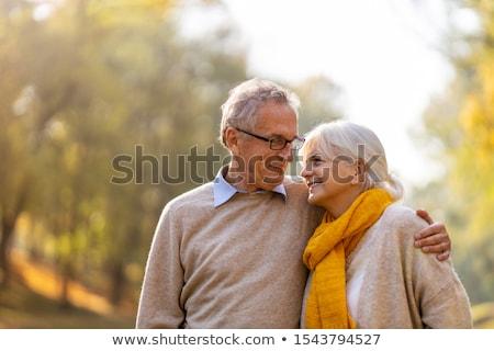 portre · mutlu · çift · yaşlı · adam · kırmızı - stok fotoğraf © ambro
