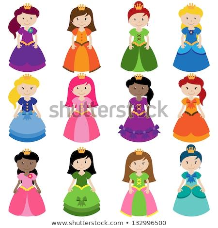 ストックフォト: 中世 · 女性 · ピンク · ドレス · 孤立した · 白