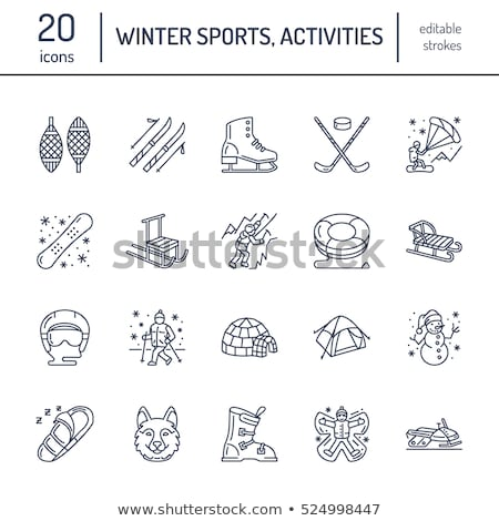 Cute thin line icons of winter sports. Outdoor activities vector elements - snowboard, hockey sled,  stock photo © Nadiinko