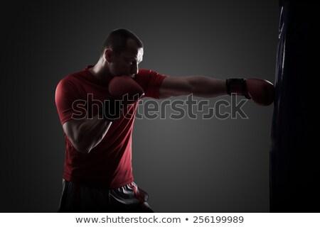 Boxeador trenes aislado gris hombre negro Foto stock © deandrobot