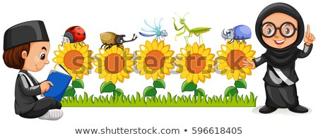 muslim boy and girl in sunflower field stock photo © bluering