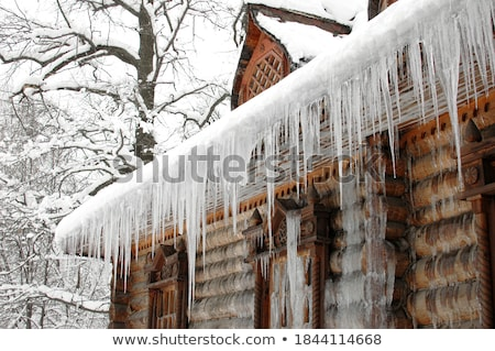Sneeuw opknoping gebouw dak seizoen huisvesting Stockfoto © dolgachov