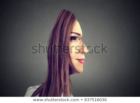 surrealistic portrait front with cut out profile of a woman Stock photo © ichiosea