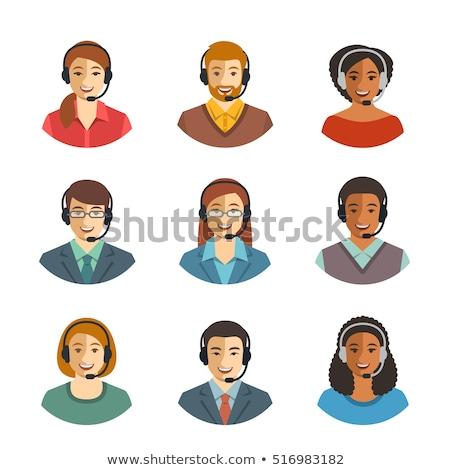 Foto stock: Asian Woman Customer Service Vector Illustration