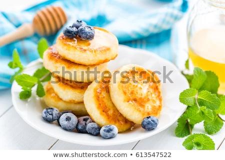 Stock fotó: Túró · palacsinták · méz · áfonya · fehér · reggeli