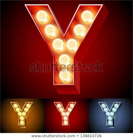 Letter Y lamp glowing font. Vintage light bulb alphabet. Retro A Stock photo © popaukropa