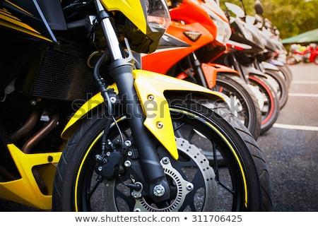 Motocykla szczegóły bar miejskich retro Zdjęcia stock © Frankljr