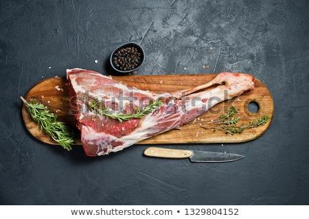 nyers · bárány · láb · fa · asztal · felső · kilátás - stock fotó © m-studio