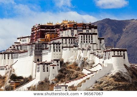 Foto stock: Palácio · tibete · cenário · famoso · céu · edifício