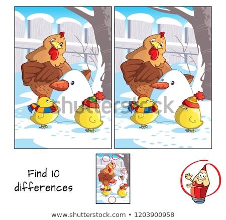 Plek verschil kip spel kinderen taak Stockfoto © Olena