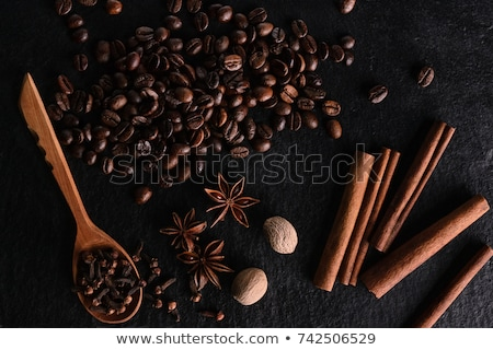 Coffee beans and cinnamon sticks. stock photo © Valeriy