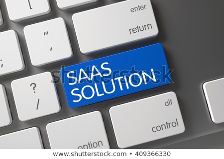 blue saas solution button on keyboard stock photo © tashatuvango