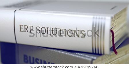 üzlet könyv cím megoldások gerincoszlop közelkép Stock fotó © tashatuvango