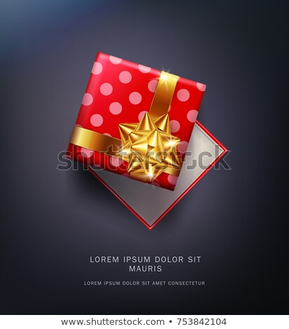 kırmızı · hediye · kutusu · altın · yay · yalıtılmış · karanlık - stok fotoğraf © Alkestida