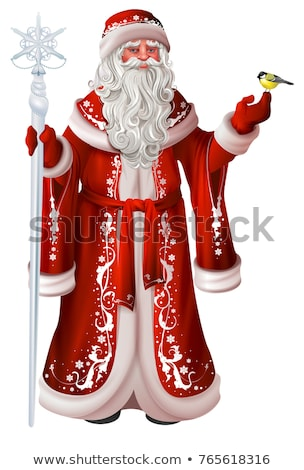 Russian santa claus holds staff and tit. Christmas national retro clothes russia Stock photo © orensila