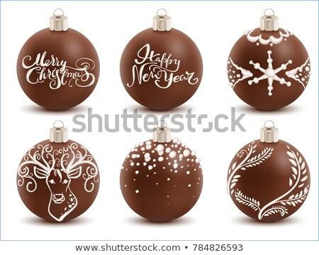Kahverengi çikolata Noel top tatlı Stok fotoğraf © orensila