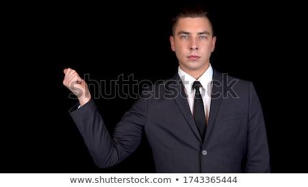 Gelukkig elegante man smoking vingers witte Stockfoto © feedough