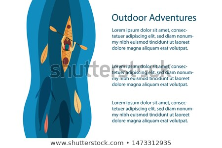 Big adventure banner with kayak and paddles Stock photo © studioworkstock