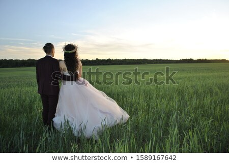 Stock photo: Newlyweds in field looking at wedding ring