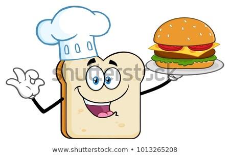 Сток-фото: Chef Bread Slice Cartoon Mascot Character Presenting Perfect Burger