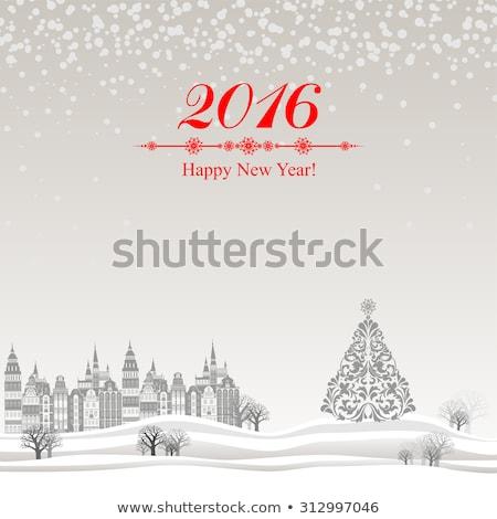 Happy new year 2016 ağaç metin kırmızı star Stok fotoğraf © popaukropa