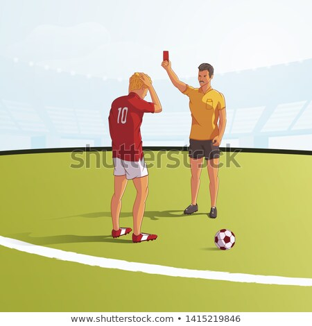 Referee with a red card and upset football player vector illustration  stock photo © tiKkraf69