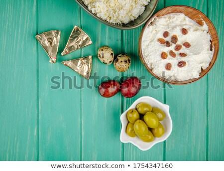 Colher creme queijo nozes passas de uva branco Foto stock © Digifoodstock