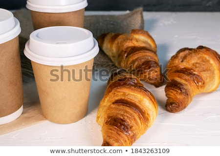 White cups of coffee and croissants Stock photo © Melnyk