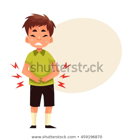 Caucasian sad boy having stomach ache. Stock photo © RAStudio