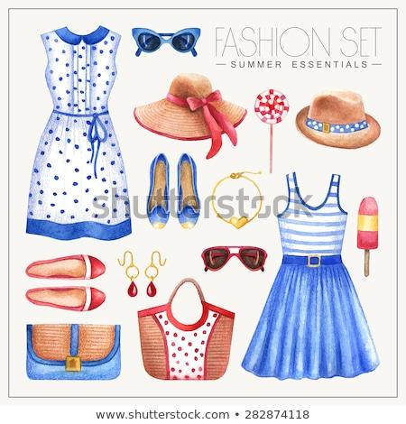 woman fashion dress icon vector set - sunglasses, womens shoes, summer hat Stock photo © MarySan