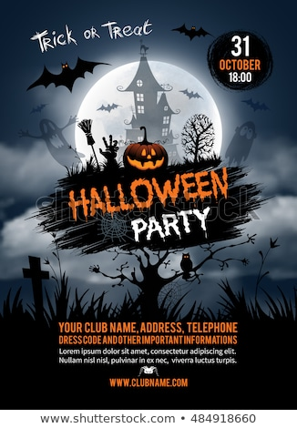halloween party flyer vector illustration with pumpkin and cemetery on orange sky background holida stock photo © articular