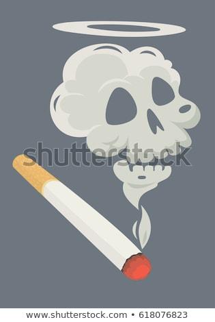 Zigarette Rauch Form Schädel Brennen Form Stock foto © zven0