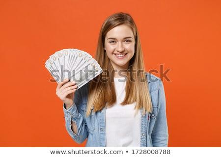 blond hair woman white money stock photo © toyotoyo