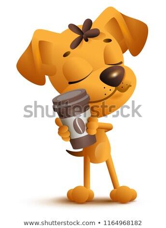 Amarillo perro cachorro taza de café Foto stock © orensila