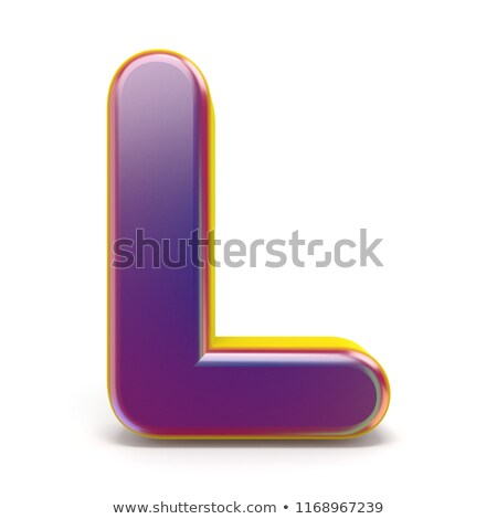 Letter L purple font yellow outlined 3D Stock photo © djmilic