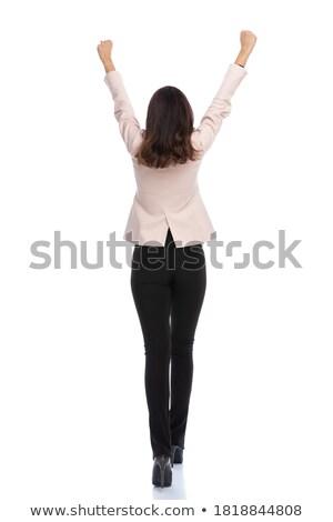 Femme d'affaires vers l'avant célébrer mains air blanche Photo stock © feedough