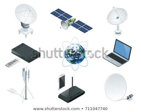 Komunikacji antena satelitarna czarny anteny Błękitne niebo strony Zdjęcia stock © vichie81