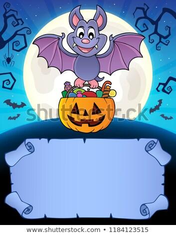 Piccolo pergamena halloween bat carta arte Foto d'archivio © clairev
