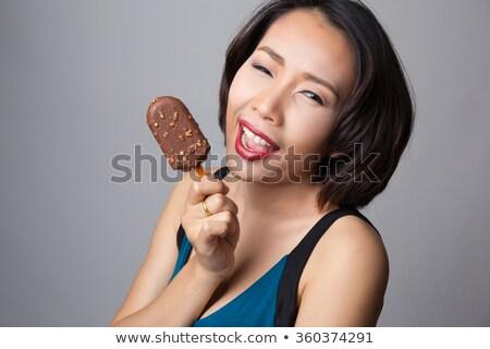 çikolata · portre · genç · kadın · ayartma · arzu · lezzetli - stok fotoğraf © deandrobot
