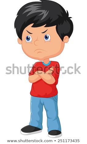 Karikatur böse Junge schauen Stock foto © cthoman